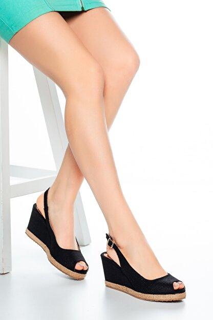 Moda Değirmeni Kadın  Keten Dolgu Topuklu Ayakkabı  Siyah  Md1013-120-0001
