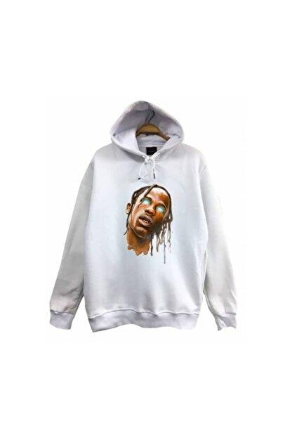 fame-stoned Travis Scott Baskılı Kapüşonlu Sweatshirt
