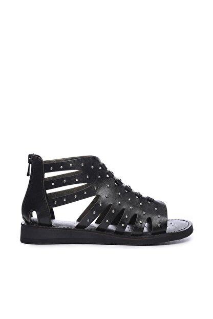 Kemal Tanca Hakiki Deri Siyah Kadın Sandalet Sandalet 649 145 BN SND