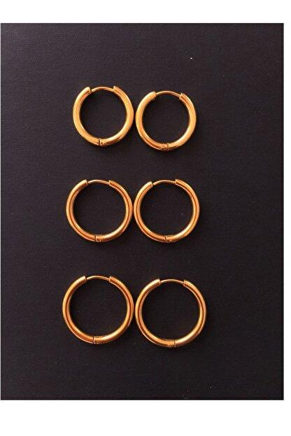 Serpil Jewellery Kadın Gold Rengi Üçlü Sıralı Çelik Halka Küpe
