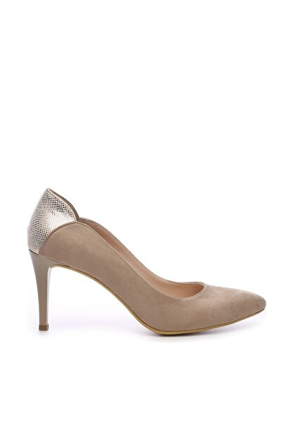Kemal Tanca Bej Kadın Vegan Klasik Topuklu Ayakkabı 723 001 BN AYK Y19