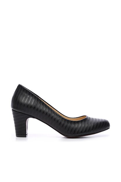 Kemal Tanca Siyah Kadın Vegan Klasik Topuklu Ayakkabı 723 2032 BN AYK Y19
