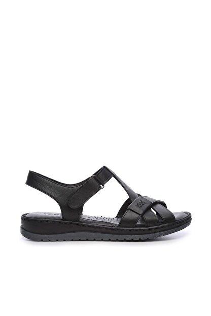 Kemal Tanca Hakiki Deri Siyah Kadın Comfort Sandalet 673 223 BN SNDLT Y19