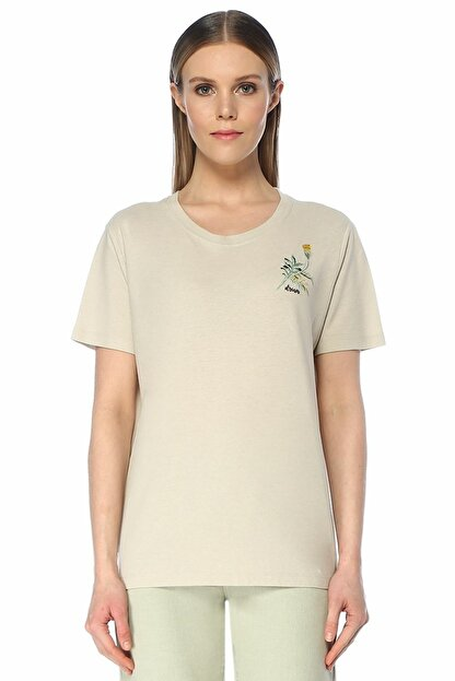 Beymen Club Bej Çiçek Nakışlı Basic T-shirt