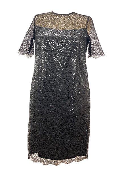 LEFİTAL Kadın Siyah Payet Dantel Astarlı Büyük Beden Abiye Elbise