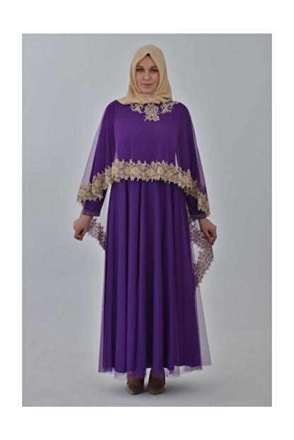 Devri Sultan Boncuk Işlemeli Çıkarılabilir Pelerinli Büyük Beden Tesettür Abiye Mor Elbise