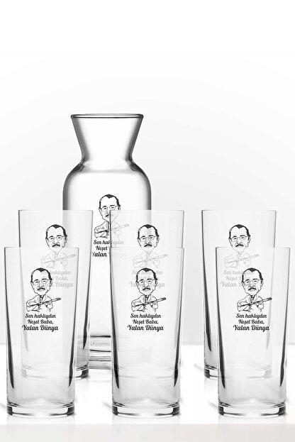 hediye-ci Neşet Ertaş Baba Yalan Dünya Renkli Baskılı Altılı Rakı Bardağı Karaf Kadeh Set