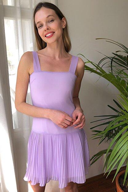 TRENDYOLMİLLA Lila  Piliseli Elbise TWOSS20EL2256