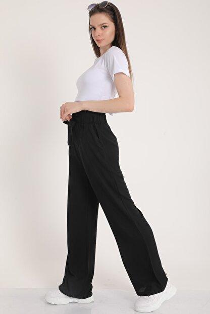 MD trend Kadın Siyah Bel Lastikli Kemerli Salaş Pantolon  Mdt5181