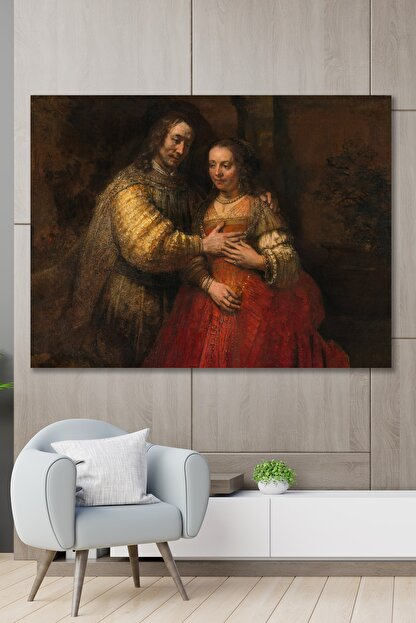 Hediyeler Kapında 100x140 Rönesans Çift Sanatsal Duvar Kanvas Tablo