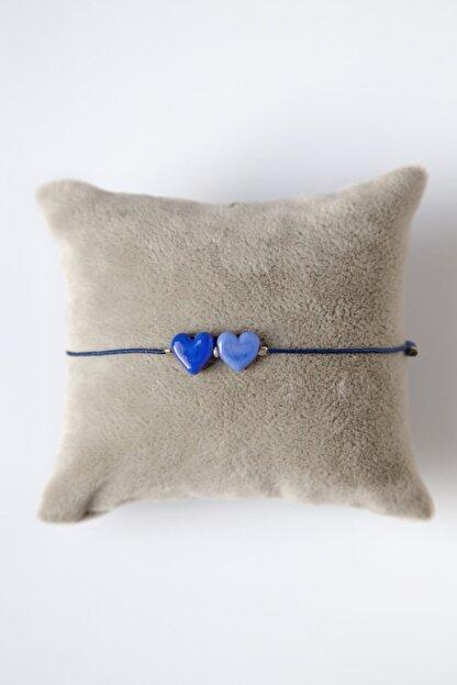 Mina Cam Tasarım Ikili Kalp Ayarlı Bileklik