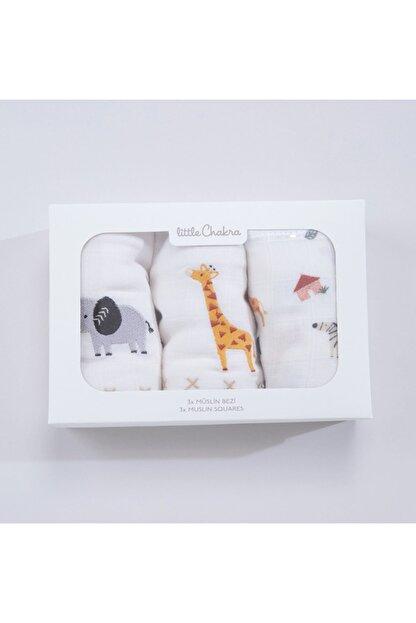 Chakra Safari Müslin Bezi 3'Lü Set Ekru-desenli - 60x60