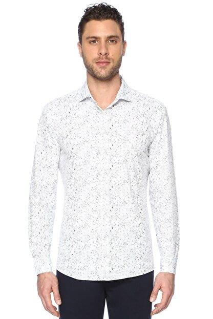 Network Erkek Beyaz Lacivert Baskılı Gömlek 1066313