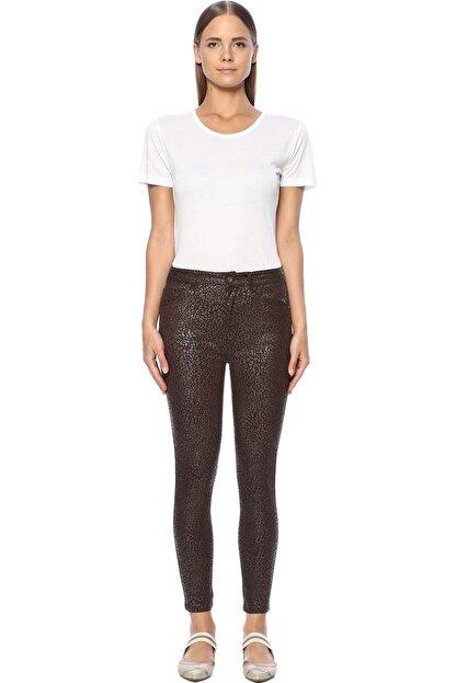 Network Kadın Baskılı Skinny Kahverengi Casual Pantolon 1071037