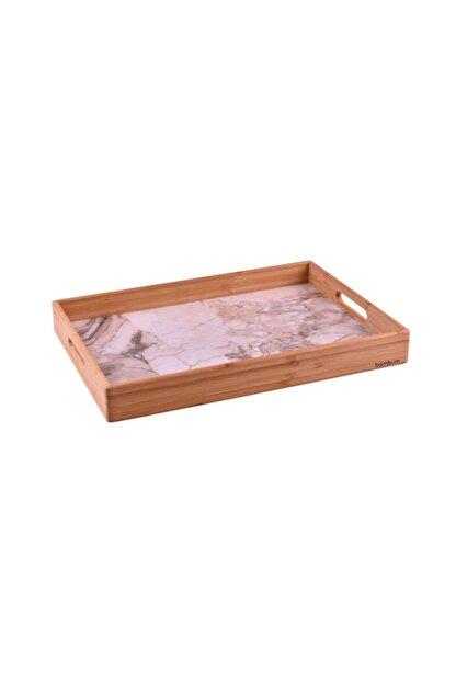 Bambum Marbel - Mermer Desenli Tepsi Fildişi Orta
