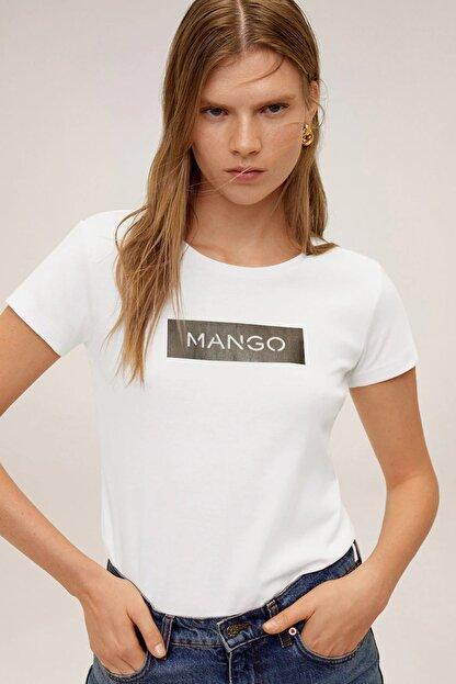 Mango Kadın Beyaz Pamuklu Logolu Tişört 67000604