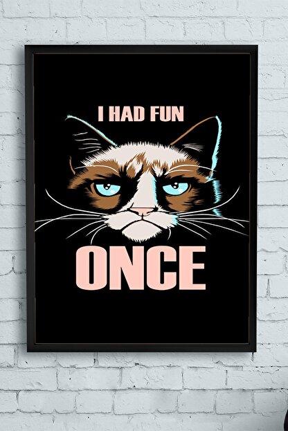 Postermanya Huysuz Kedi Eğlenceli Mizahi Çerçeveli Tablo (50x70cm)