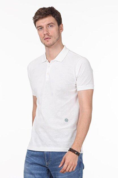Ramsey Erkek Beyaz Desenli Örme T - Shirt RP10119909