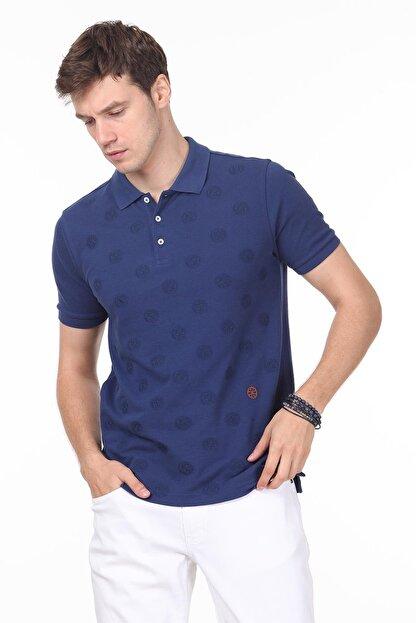Ramsey Erkek İndigo Desenli Örme T - Shirt RP10119909