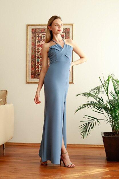 TRENDYOLMİLLA Mavi Yaka Detaylı  Abiye & Mezuniyet Elbisesi TPRSS20AE0311