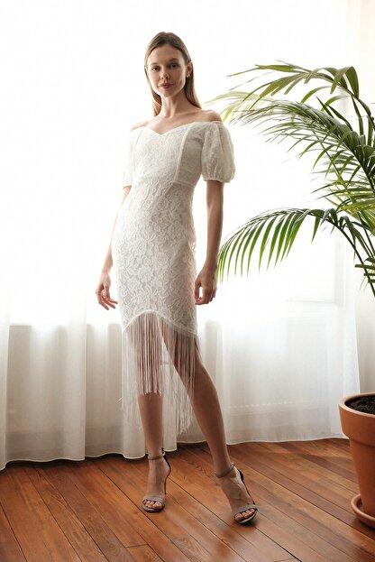 TRENDYOLMİLLA Ekru Püskül Detaylı  Elbise TPRSS20EL2859