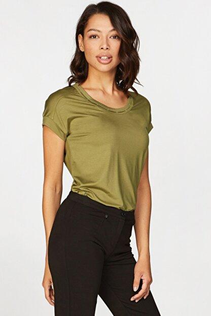Faik Sönmez Kadın Yeşil Basic T-shirt 38018 U38018