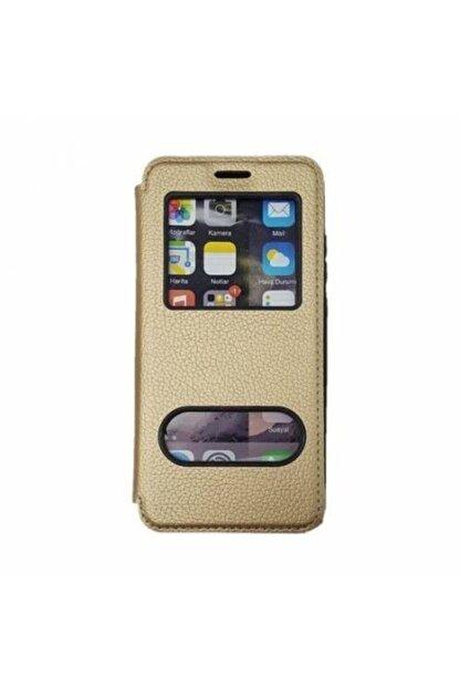 tekno grup Samsung Galaxy A10 Kılıf Kapaklı Pencereli Elit Kılıf - Gold
