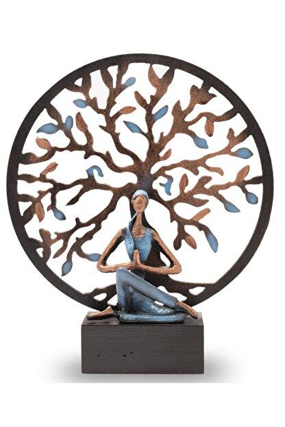 Gift Garden Yoga Yapan Kadın Mavi Küçük Hayat Ağacı Biblo