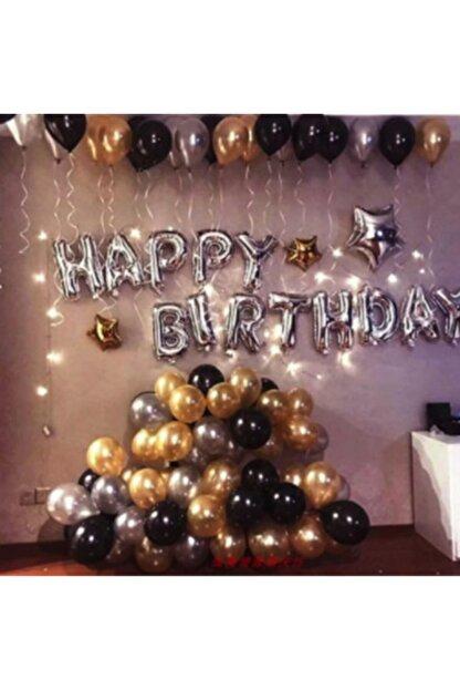 COMPANERO SHOP Happy Birthday Doğum Günü Balonu Kombini Gümüş Gold