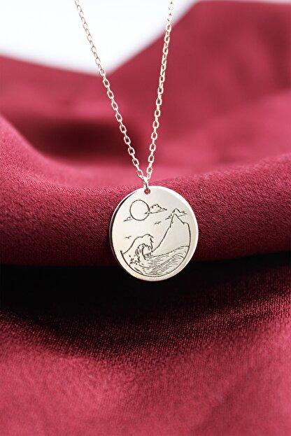 Silver&Silver Kadın Rose Yuvarlak Güneş Dalgalı Kolye