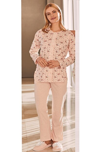 Mecit Pijama Çiçek Desenli Büyük Beden Önden Açılan Pijama Takımı 5265
