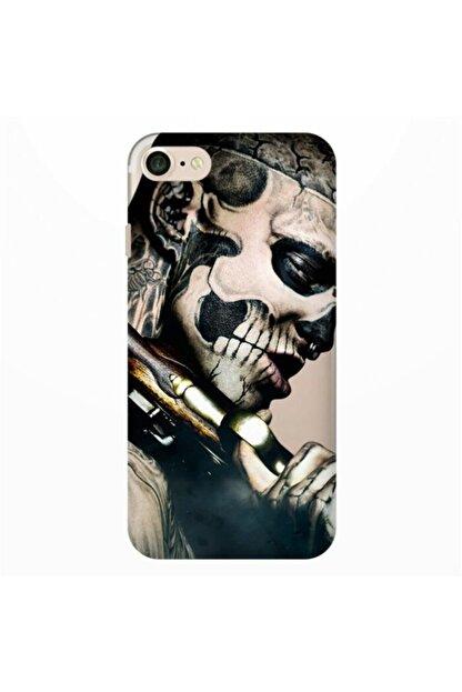 Cekuonline Iphone Se 2020 Kılıf Desenli Resimli Hd Silikon Telefon Kabı Kapak - Skull Cowboy