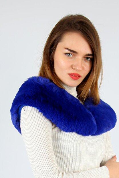 Y-London Kadın Saks Mavi İçten Geçmeli  Kürk Boyunluk Atkı 11261