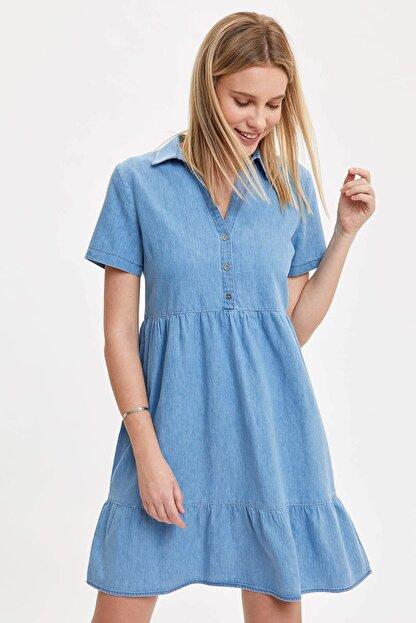 Defacto Kadın Mavi Pile Detaylı Düğmeli Regular Fit Jean Elbise O0424AZ.20SM.NM39