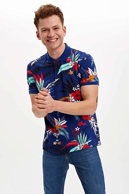 Defacto Erkek Çivit Mavisi Çiçek Desenli Slim Fit Polo T-Shirt N1792AZ.20SM.IN75