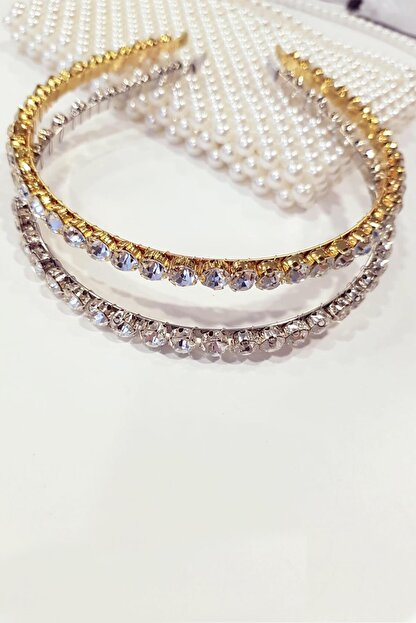 BAHELS Kadın 2'li Gold Ve Gümüş Renkli Zara Model Kristal Taşlı Taç Saç Bandı - 2 Adet