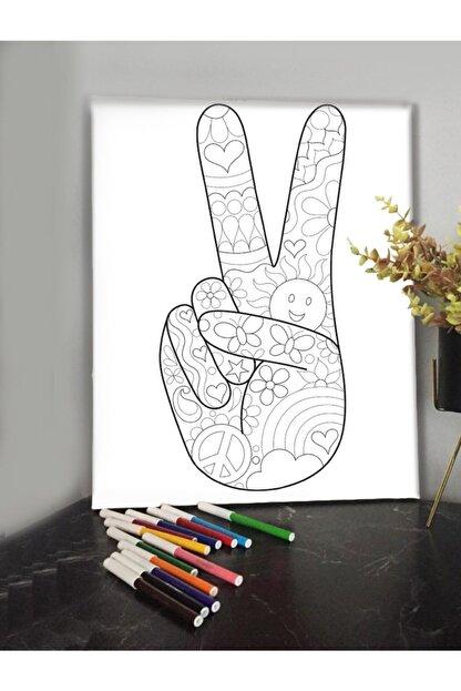 KanvasSepeti Zafer Işareti 40x30 cm Çocuklar İçin Boyanabilir Tablo Mandala Tablo 12'li Keçeli Kalem