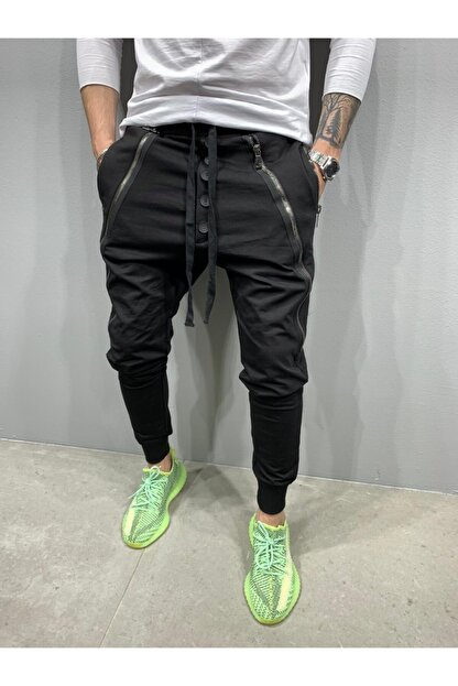 2Y PREMIUM Erkek Siyah Düğmeli Fermuarlı Jogger Pantolon