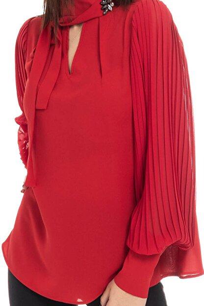 Ayhan Kolları Pliseli Bluz - 81282 Kırmızı