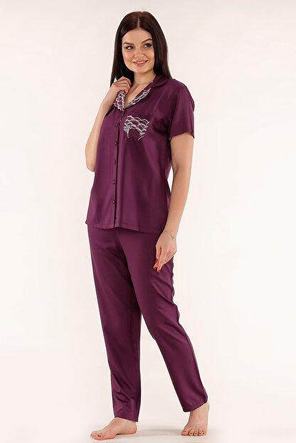 Tuba Kadın Mor Önden Düğmeli Kısa Kollu Pijama Takımı 242
