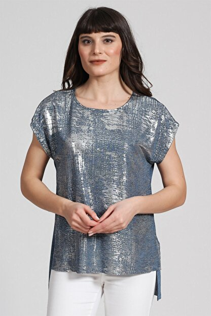 Seamoda Kolsuz Sim Baskılı T-shirt Mavi Gümüş Simli