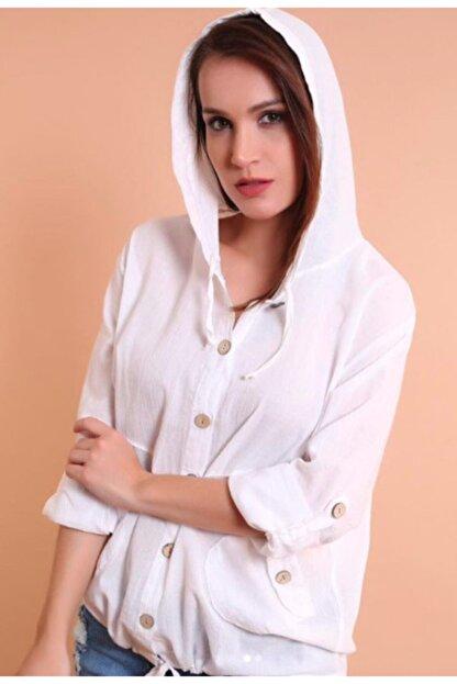 Nbb Kadın Beyaz Etnik Bohem Keten Kapşonlu Gömlek Ceket