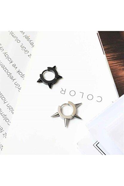 THOMAS ALLİ Dikenli Çelik Küpe 2 Adet Siyah Ve Gümüş