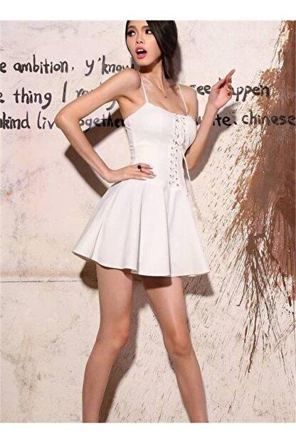 lovebox Esnek Dalgıç Kumaş Önden Bağcık Detaylı Askılı Beyaz Kiloş Elbise
