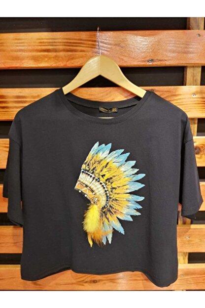 NEW NOCE Siyah Püsküllü Kızılderili T-shirt