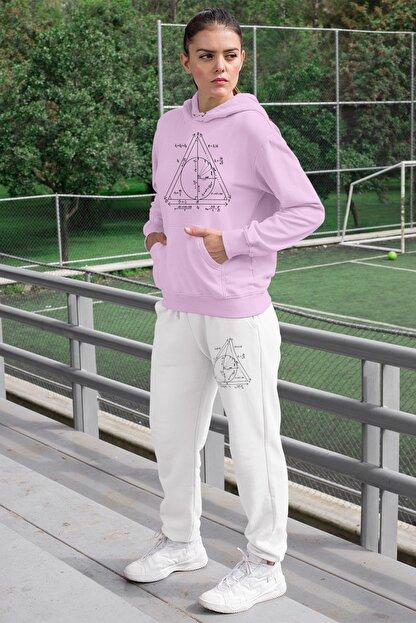 Angemiel Wear Geometrik Şekiller Kadın Eşofman Takımı Pembe Kapşonlu Sweatshirt Beyaz Eşofman Altı
