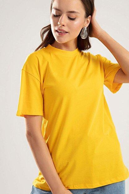 Pattaya Kadın SARI Dik Yaka Basic Tişört PTTY20S-701