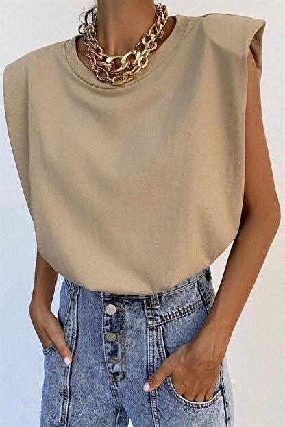 Madmext Mad Girls Vatkalı Camel Kadın Tişört MG228