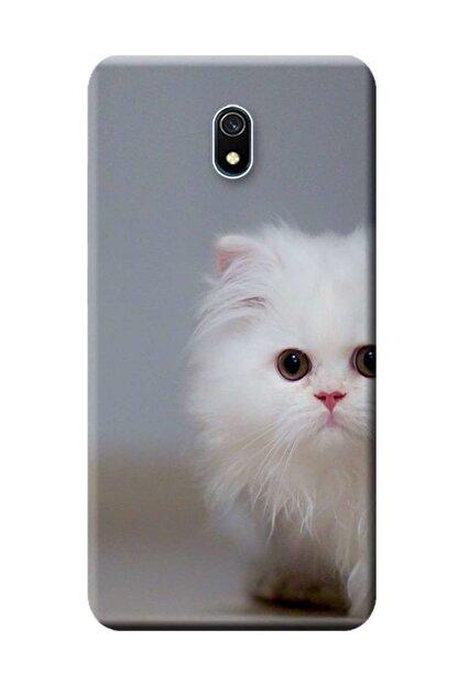 Kılıfmerkezi Xiaomi Redmi 8a Kılıf Redmı-8a Desen Baskılı Silikon Beyaz Kedi Stk:139
