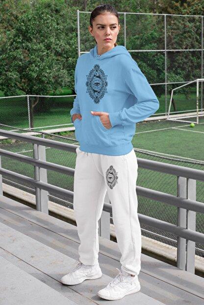 Angemiel Wear Üçgen Motifleri Ay Ve Göz Kadın Eşofman Takımı Mavi Kapşonlu Sweatshirt Beyaz Eşofman Altı